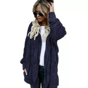 Jackets & Blazers - Cozy Navy Blue Fur Teddy Jacket